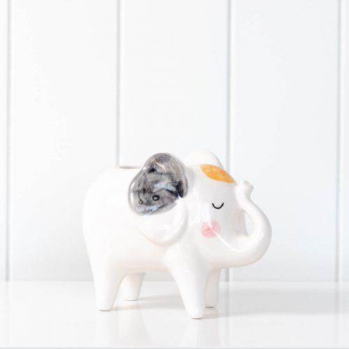 Blushing White Elephant Ceramic Pot Planter
