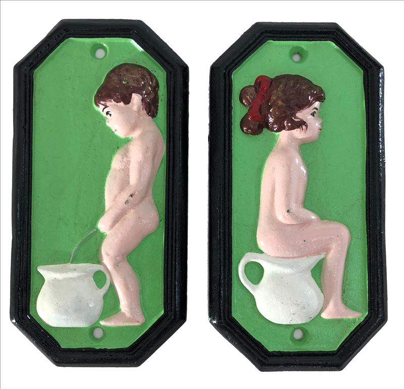 Boy and Girl Toilet Restroom Sign Cast Iron Metal Plaque