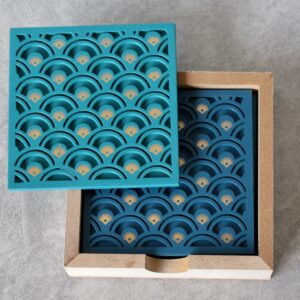 Carved Wooden Coasters With Caddy