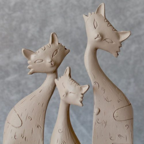 Cat Kitten Animal Family Statues