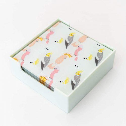 Cockatoo Parrot Bird Glass Drink Coasters - Set of 6
