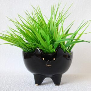 Felix Cat Animal Black Pot Planter