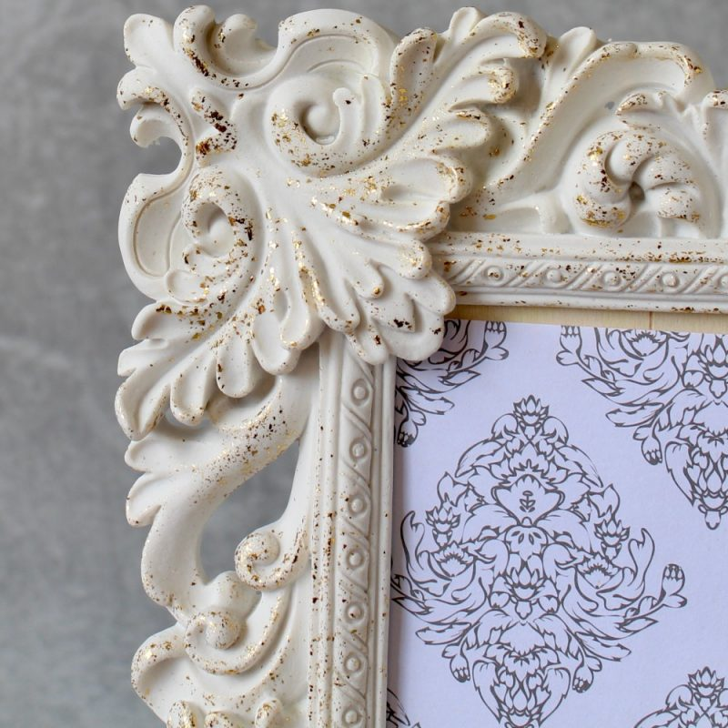 Floral White And Gold Photo Frame