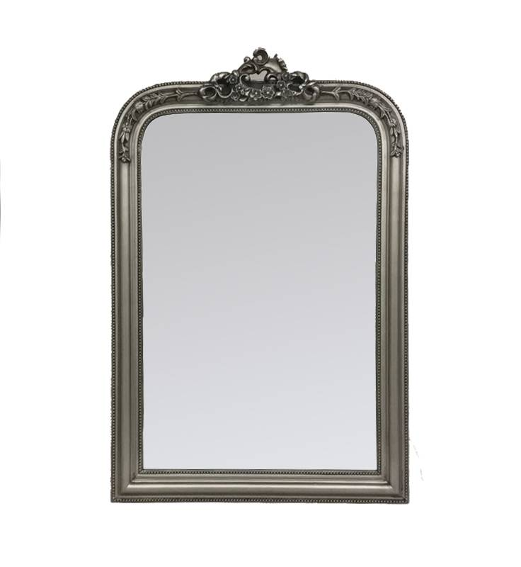 French Ornate Silver Wooden Wall Mirror