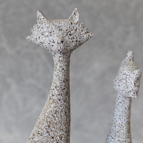 Grey Cuddling Family Cats Animal Figurine