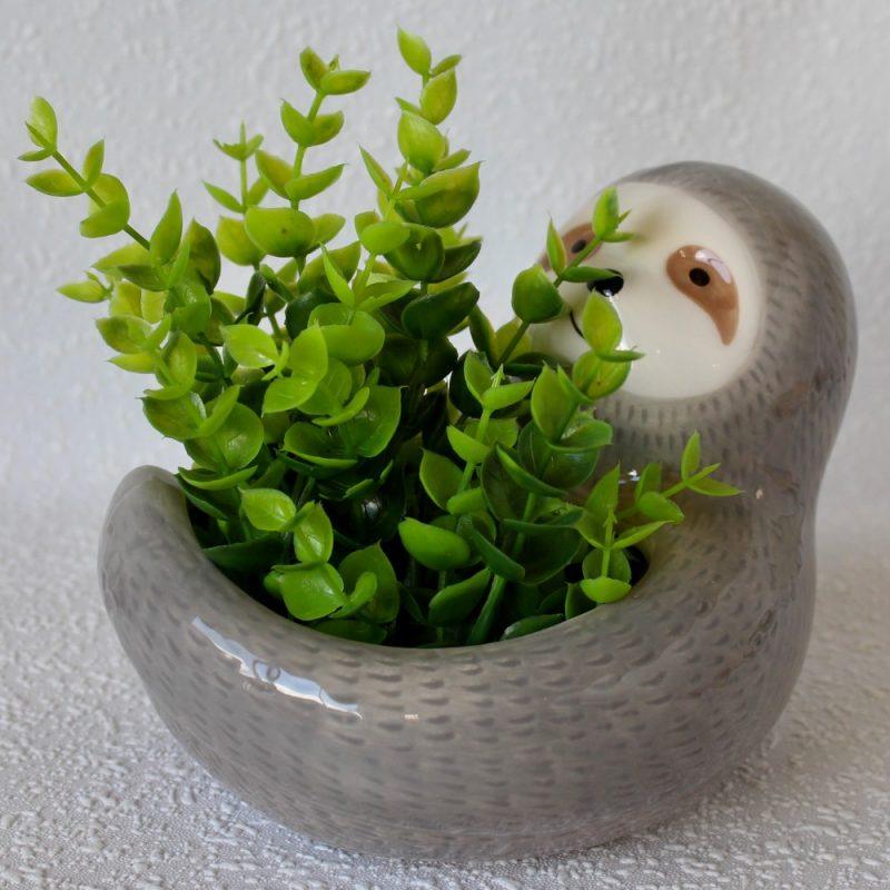 Grey Happy Sloth Ceramic Pot Planter