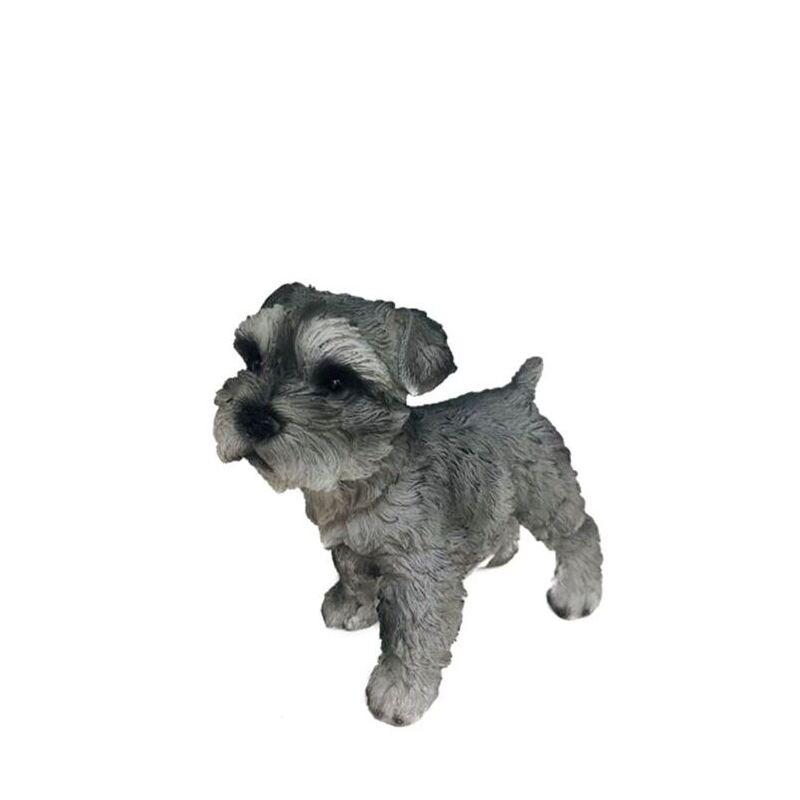 Grey Standing Scruffy Puppy Dog Statue