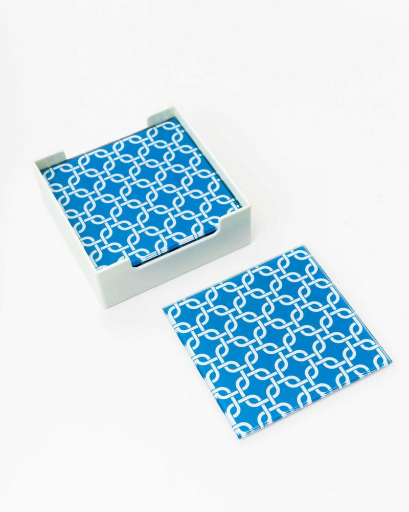 Hamptons Blue Glass Drink Coasters - Set of 6