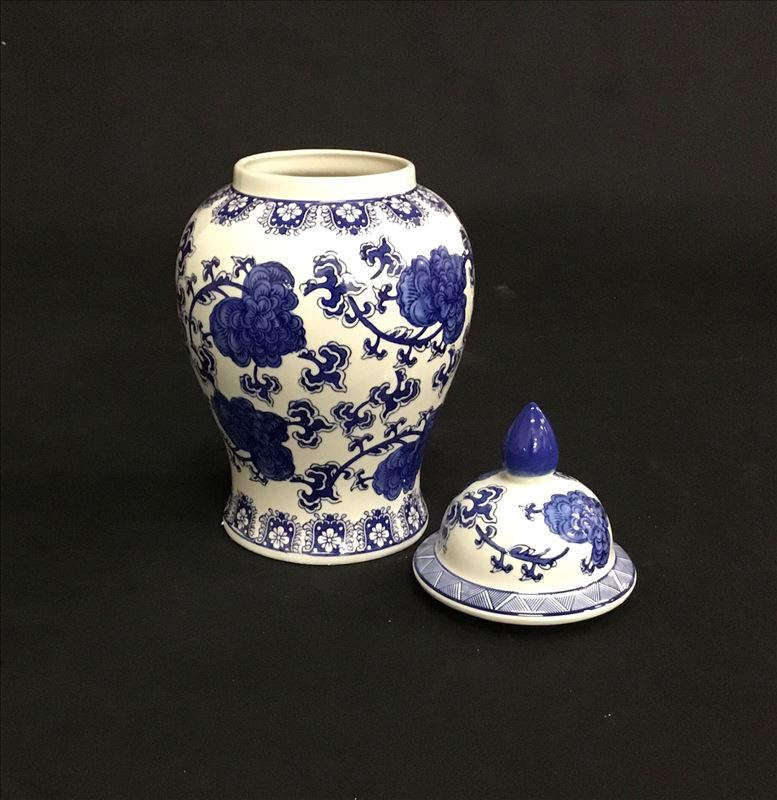 Hamptons Blue Tall Ceramic Temple Ginger Jar Vase