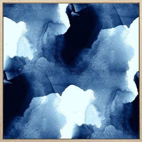 Hamptons Blue Water Abstract Framed Canvas Print Wall Art