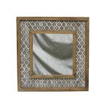 Hamptons Leaf Pattern Wooden Wall Mirror