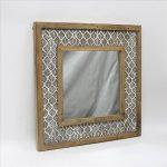 Hamptons Leaf Pattern Wooden Wall Mirror_1