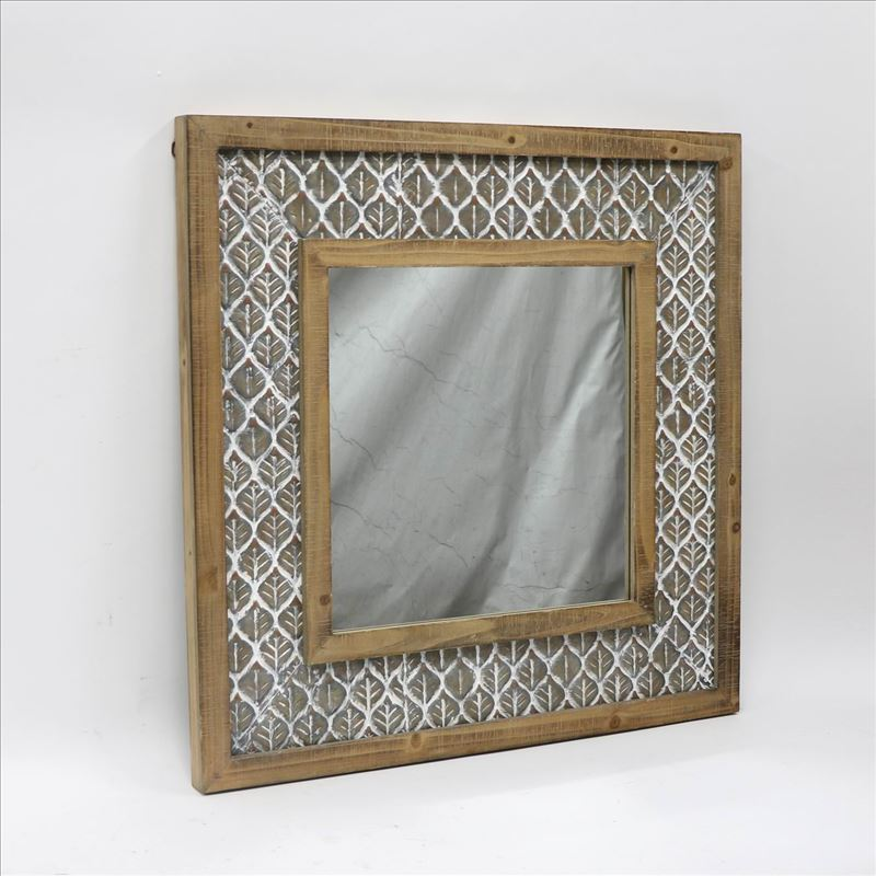 Hamptons Leaf Pattern Wooden Wall Mirror