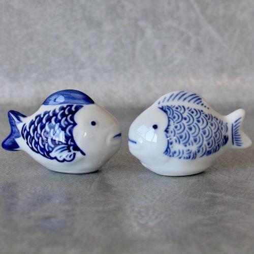 Hamptons Navy Blue Floating Fish Figurine
