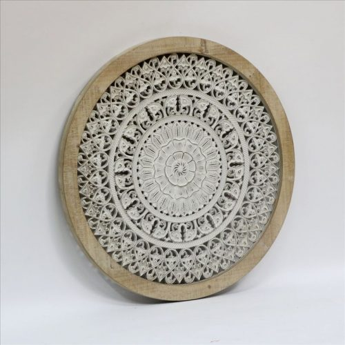 Hamptons Round Mandala White Panel Wooden Wall Art
