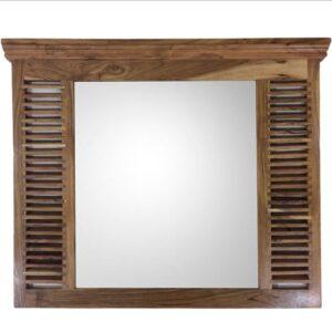 Hamptons Window Acacia Wood Wall Mirror