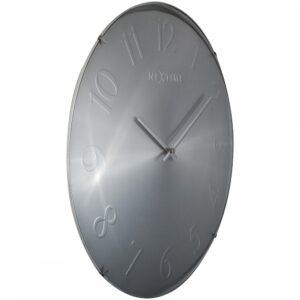 Metallic Silver Nextime Glass Silent Wall Clock