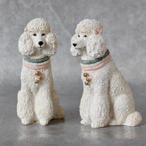 Mini Poodle Dog White Statue