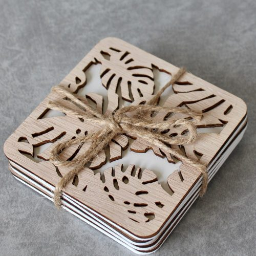 Monstera Leaves Cutout White Wooden Coasters