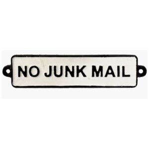 No Junk Mail Metal Sign Cast Iron White Plaque