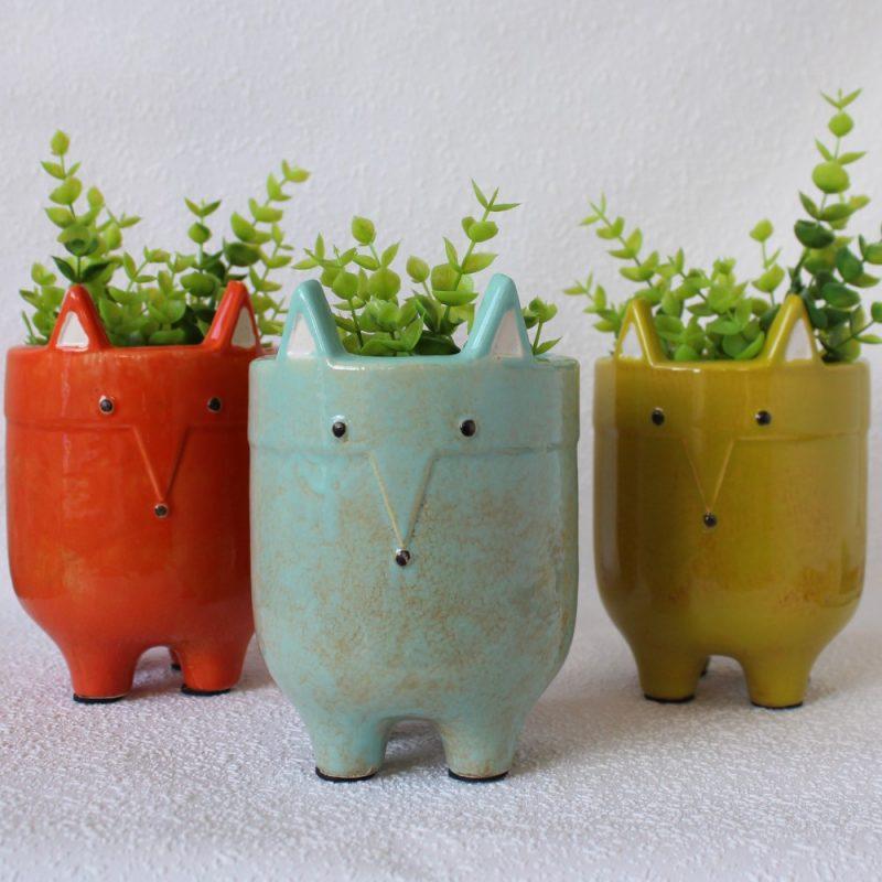 Quirky Fox Animal Ceramic Pot Planter