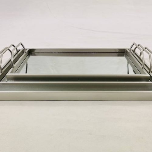 Rectangle Mirror Vanity Serving Tray With Metal Handles - Set of 3