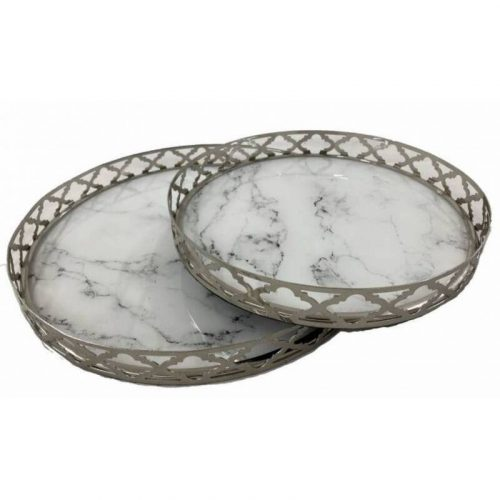 Round Metal Marble Vanity Serving Tray