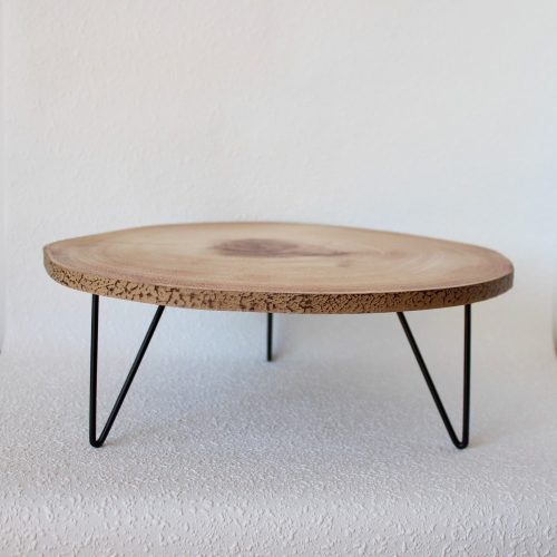 Round Natural Wood Table Top Serving Tray