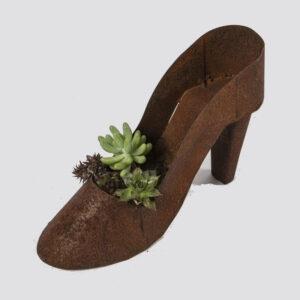 Rustic Metal Shoe Pot High Heel Iron Planter
