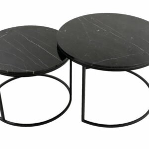 Set of 2 Black Marble Top Coffee Tables With Metal legs