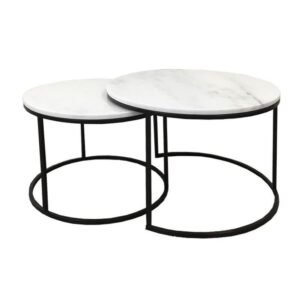 Set of 2 Nesting Round Marble Top Coffee Tables With Metal legs