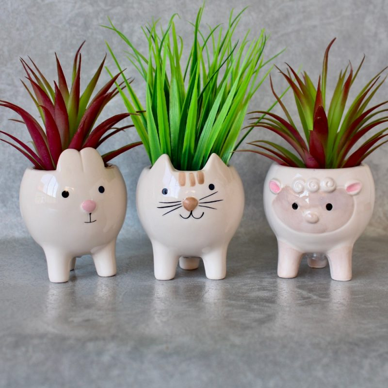 Sheep Cat Bunny Animals Head Ceramic Pot Planters