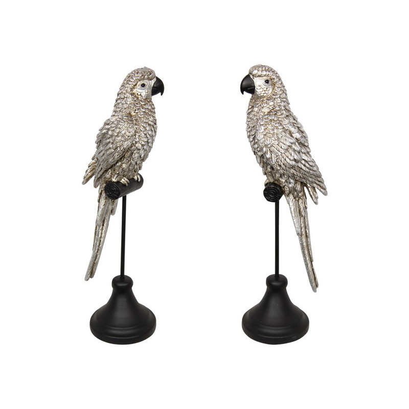 Silver Parrot Bird Figurines On Metal Stand