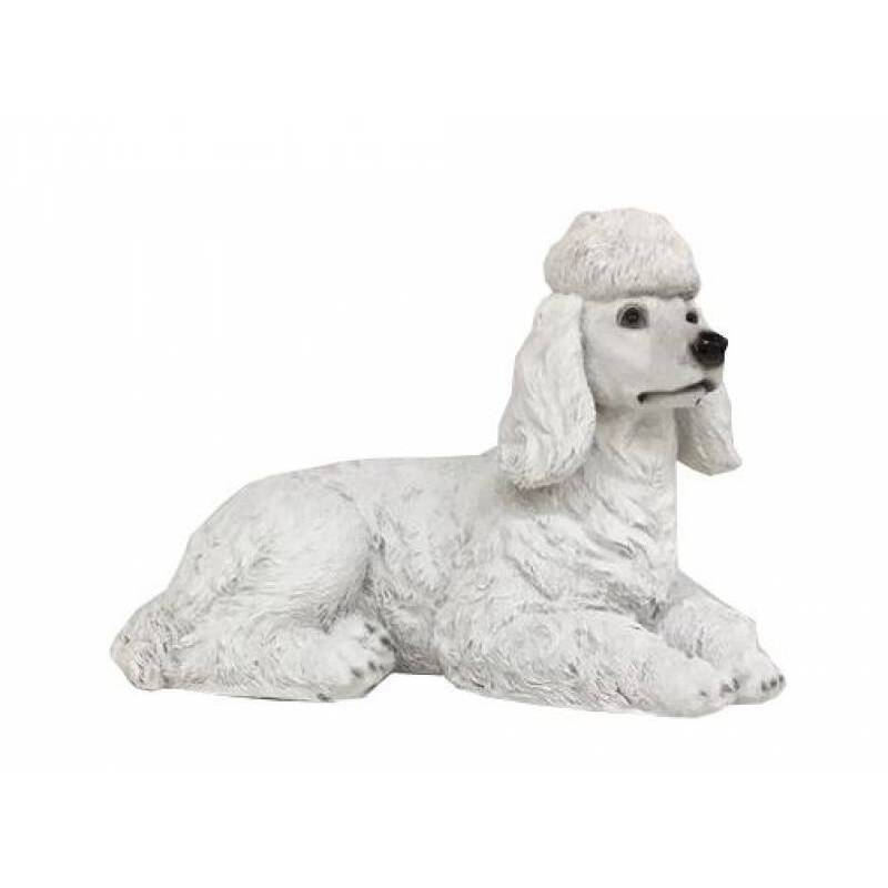 White Cute Poodle Dog Animal Statue