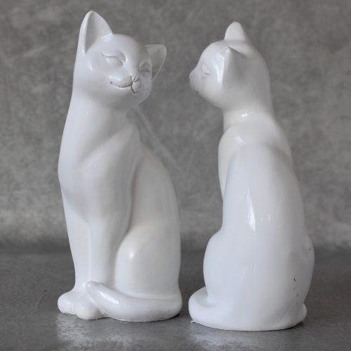 White Sitting Cat Animal Statue Ornament