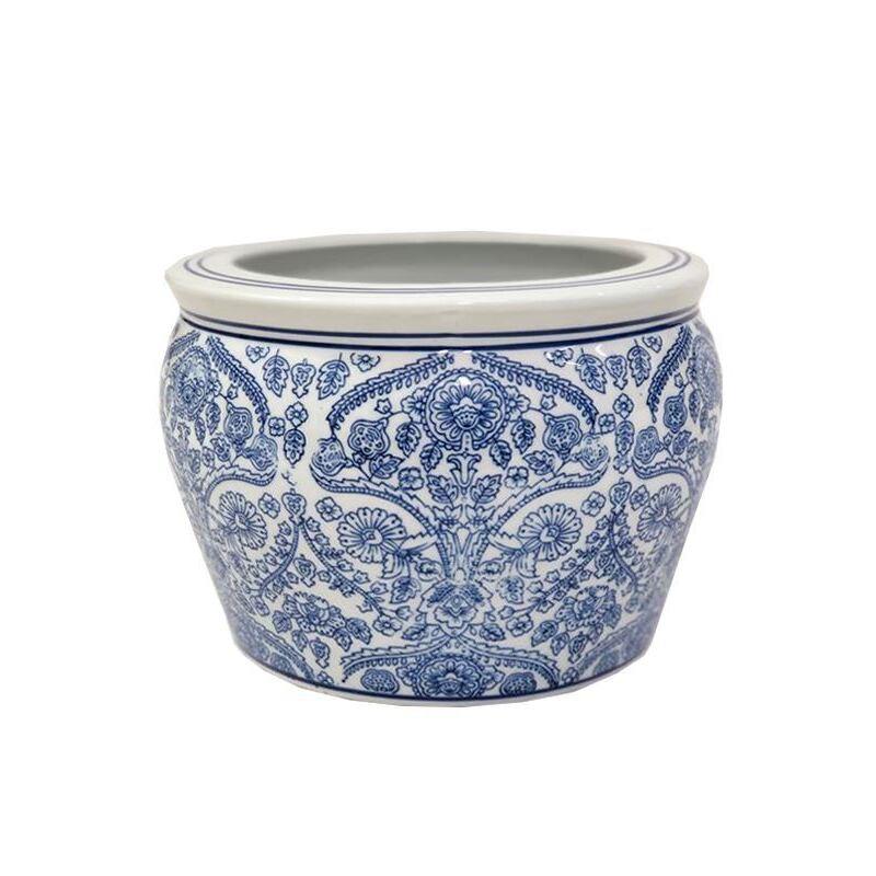White and Blue Willow Ceramic Pot Planter