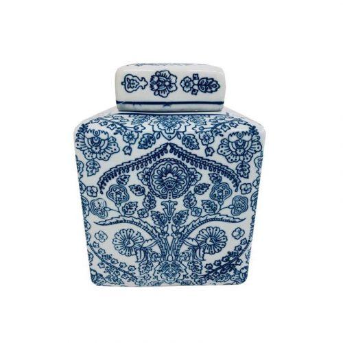 White and Blue Willow Ceramic Temple Jar Vase