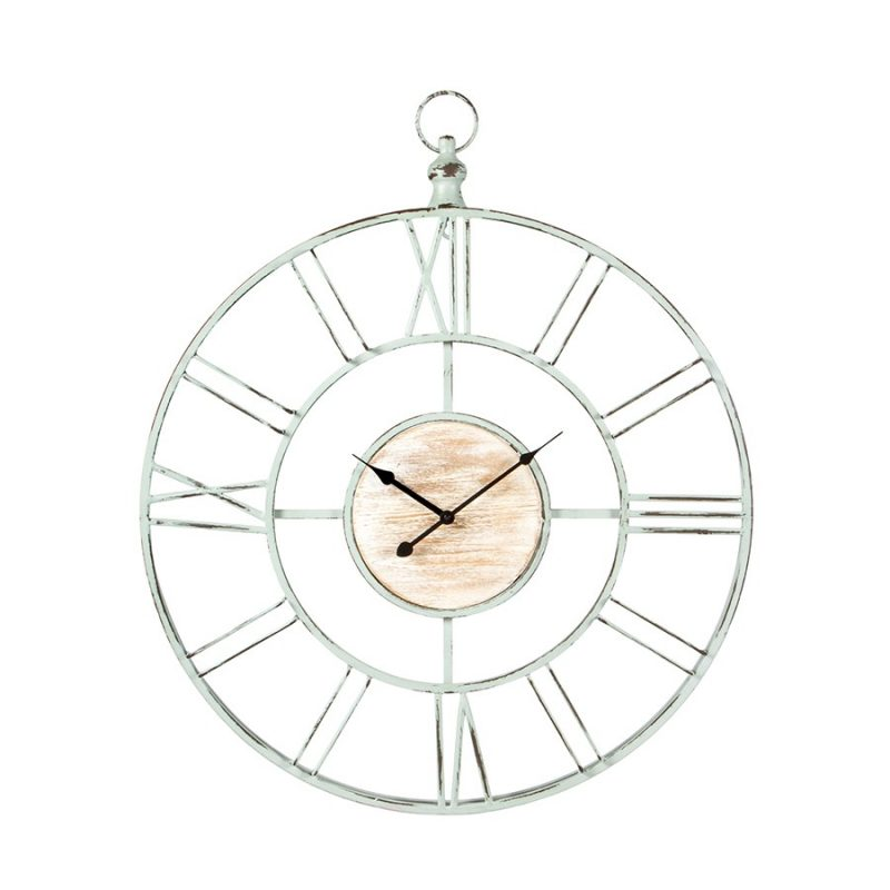 X Large Distressed Sage Wall Clock With Whitewash Centre