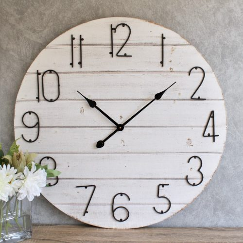X Large White Wooden Wall Clock With Iron Numbers