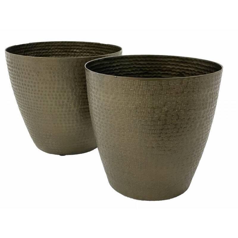 Antique Aluminium Metal Pot Planters - Set of 2