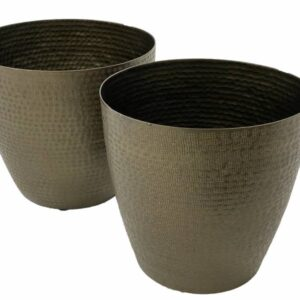 Antique Aluminium Metal Pot Planters - Set of 2