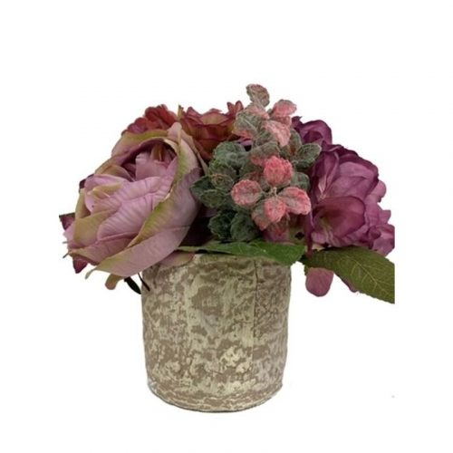 Artificial Fake Flowers Rose and Hydrangea Potted Plant