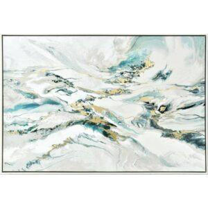 Beach Waves Abstract Framed Canvas Print Wall Art