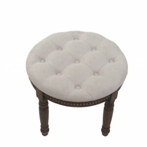 Beige Fabric Upholstered Wooden Stool