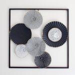 Black Abstract Circles Framed Metal Wall Art