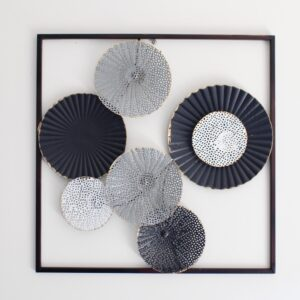 Black Abstract Monochrome Circles Framed Metal Wall Art
