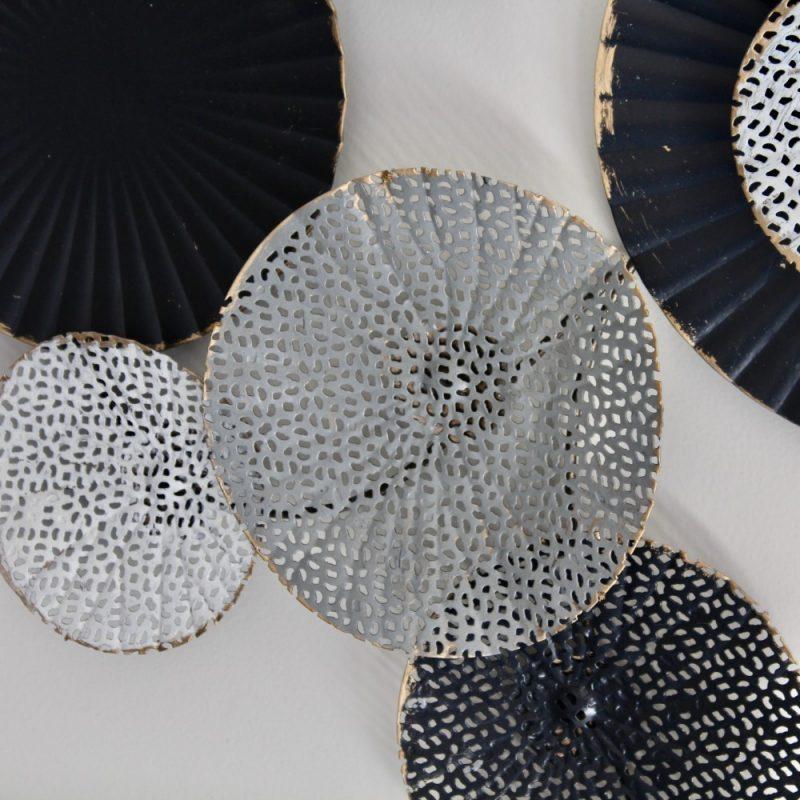Black Abstract Monochrome Circles Framed Metal Wall Art