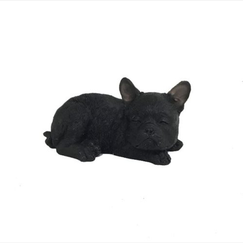 Black Dog Statue Sleeping Puppy Sculpture