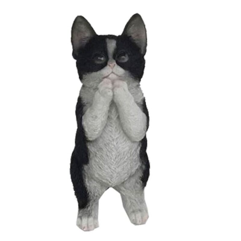 Black and White Kitten Cat Statue