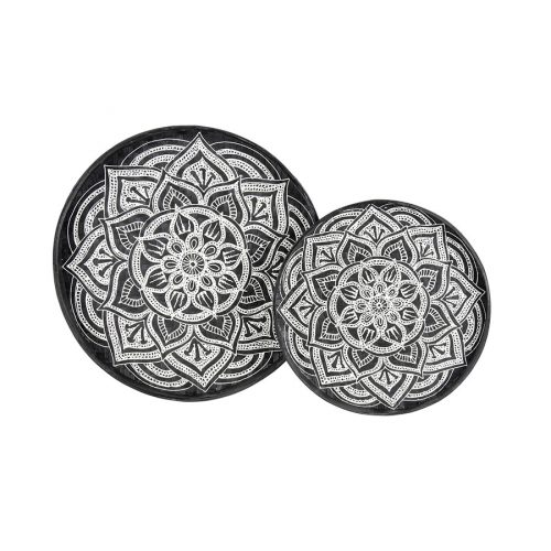 Black and White Mandala Rattan Tray Wall Art - Set of 2